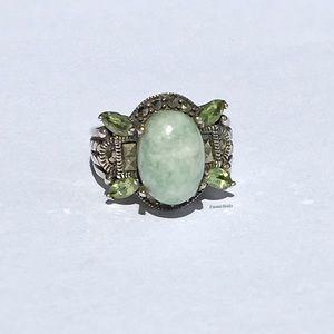 Vintage Jade & Peridot Cocktail Ring; 925 Silver